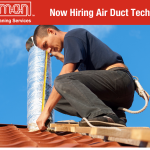 This image shows that vacu-man is currently hiring an air duct technician.